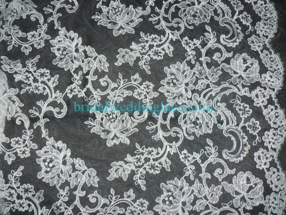 Embroidered corded lace fabric bridal lace fabric eclf001 for White lace fabric for wedding dresses