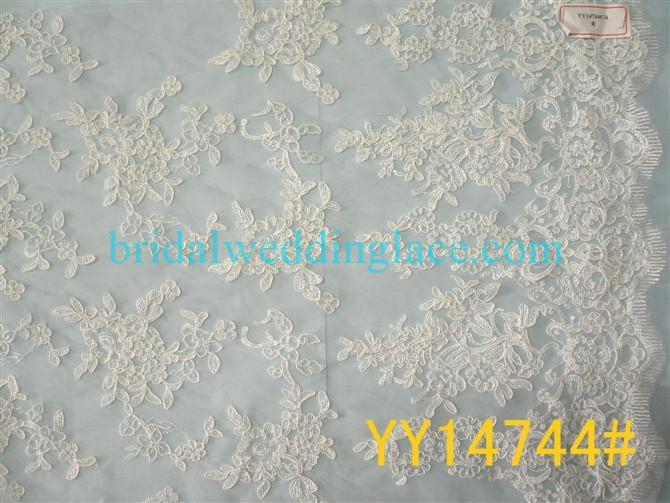 Embroidered Corded Lace Fabric Bridal Lace Fabric YY14744 For