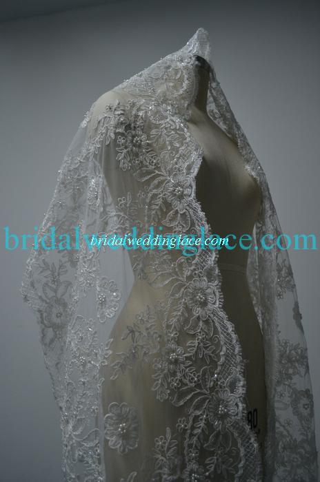 Gorgeous ivory beaded lace trim lace shawl fabric with for Wedding dress trim beading