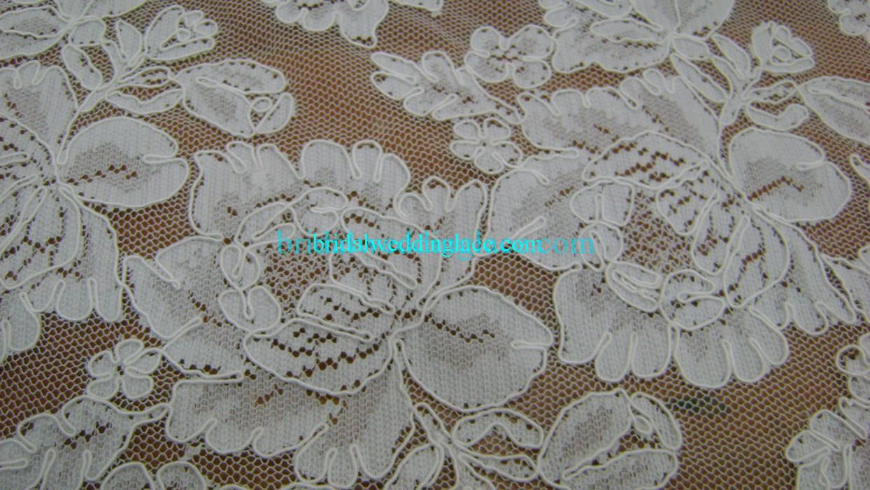 White / Ivory Corded Lace Fabric Bridal Lace Fabric BLF013 For ...