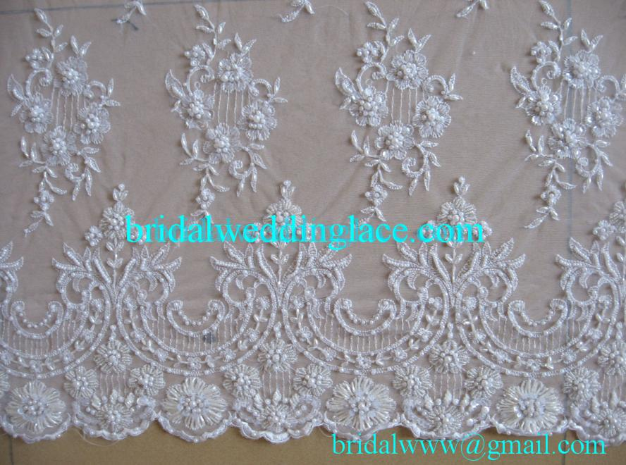 Free shipping 15 yards custom made quality ivory exquisite for Bridal fabric