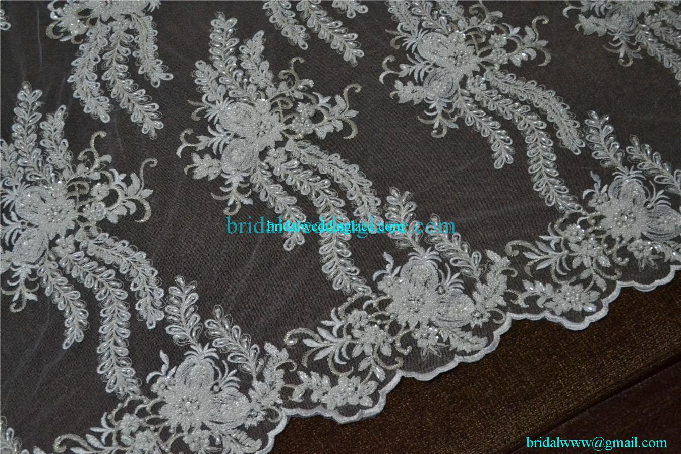 quality exquisite beaded lace fabric bridal wedding white. Black Bedroom Furniture Sets. Home Design Ideas