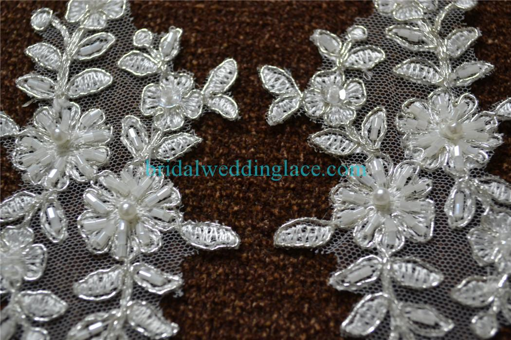 ivory beaded lace applique with silver cord wedding