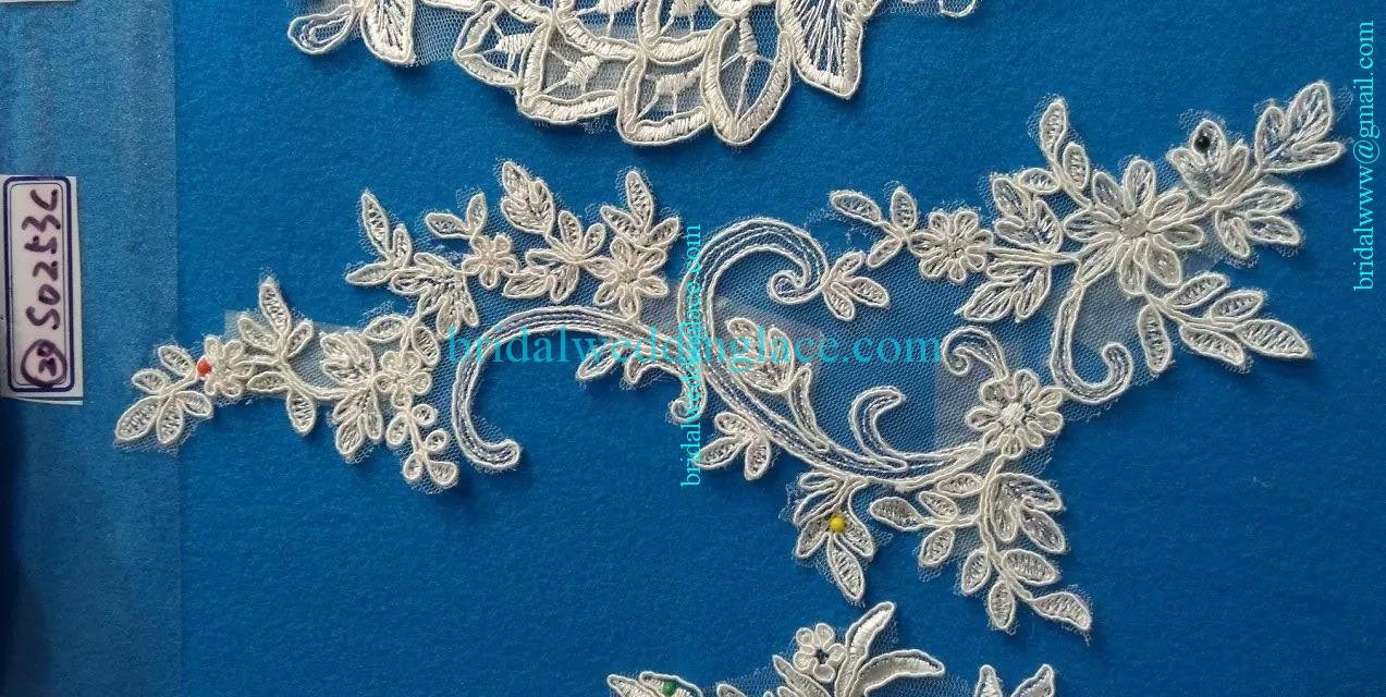 Quality ivory off white color corded embroidery bridal lace
