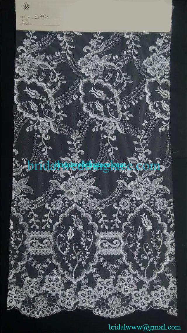 Quality embroidered corded bridal wedding lace fabric