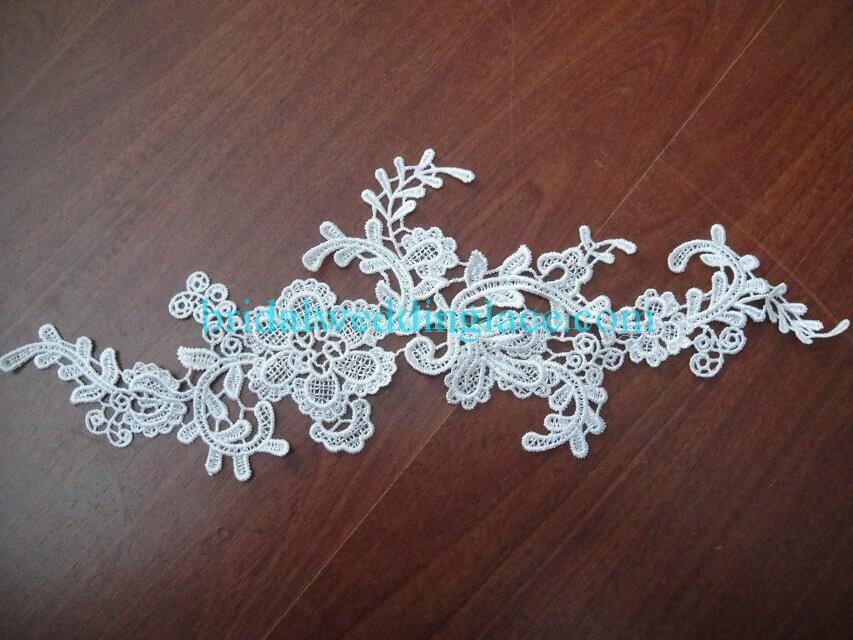 Cheap Light Ivory/ Off White Water-Soluble Lace Applique Wedding Dresses Bridal Gowns DIY Solubility Lace Applique Motif WSLM1691816