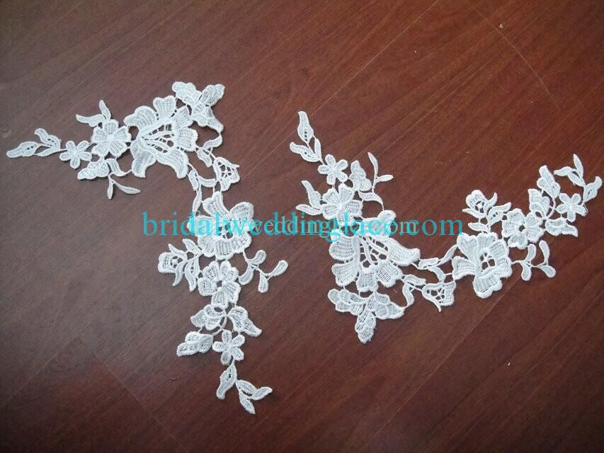 Cheap Light Ivory/ Off White Water-Soluble Lace Applique Wedding Dresses Bridal Gowns DIY Solubility Lace Applique Motif WSLM1691823