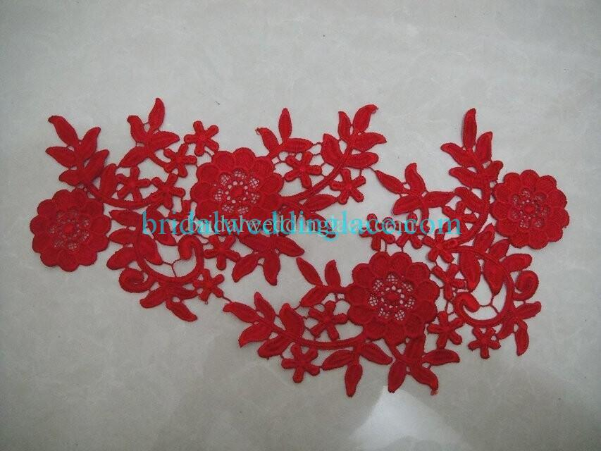 Cheap Red Color Water-Soluble Lace Applique Wedding Dresses Bridal Gowns DIY Solubility Lace Applique Motif WSLM1691839