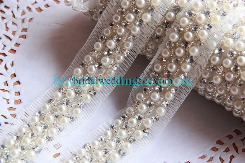 Pearl Gold Silver Ivory Applique,Motif,Bridal,trim,Wedding,beads  13 CM