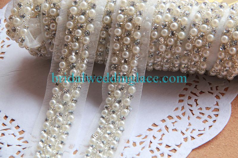 Sku  BT16101804  Description  2 cm Wide Diamond Rhinestone Pearl   Silver  Beads Hand Beaded Ivory Off White Color Strip Dresses DIY Trim Accessory ... af940fc82449