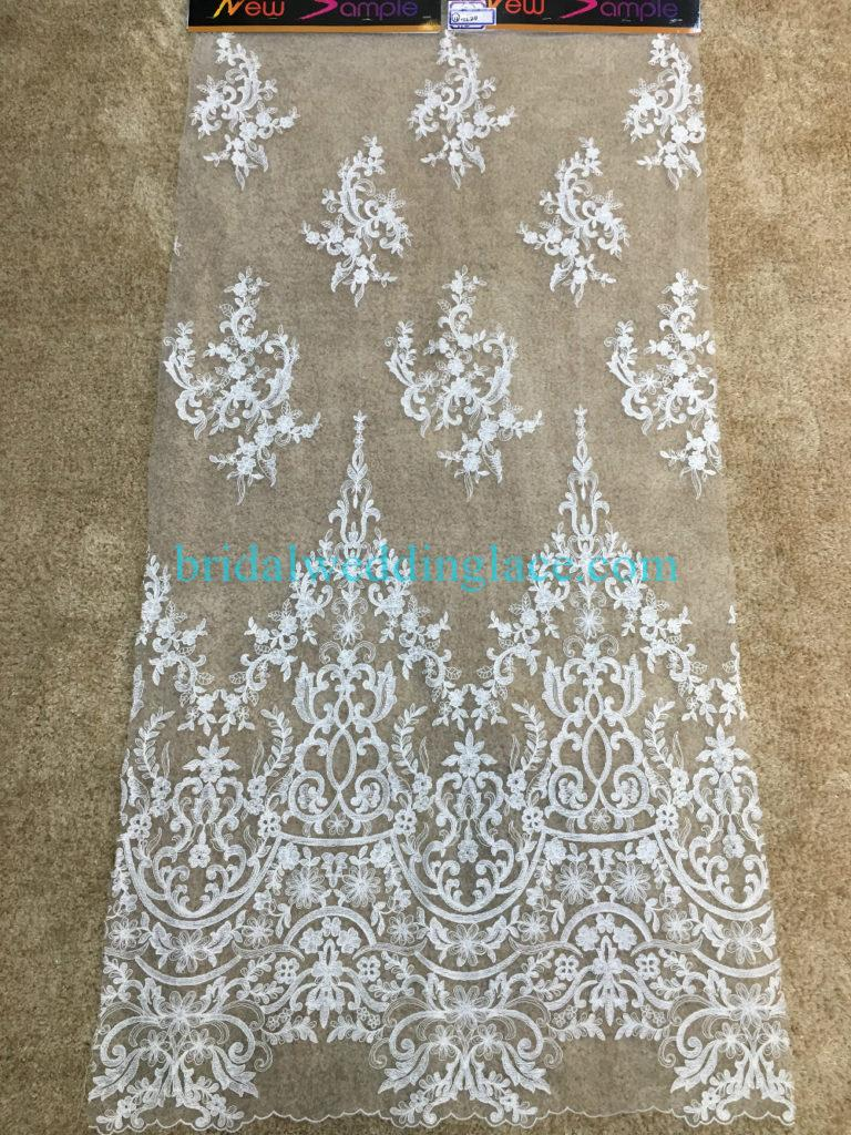 Quality Ivory Embroidery Bridal Lace Fabrics Bodice To Skirt One Piece Lace #941204
