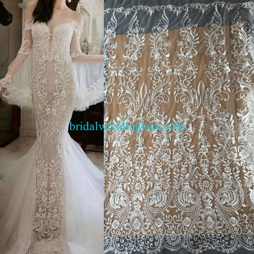 #941205 Quality Ivory Embroidery Bridal Lace Fabrics Bodice To Skirt One Piece Lace