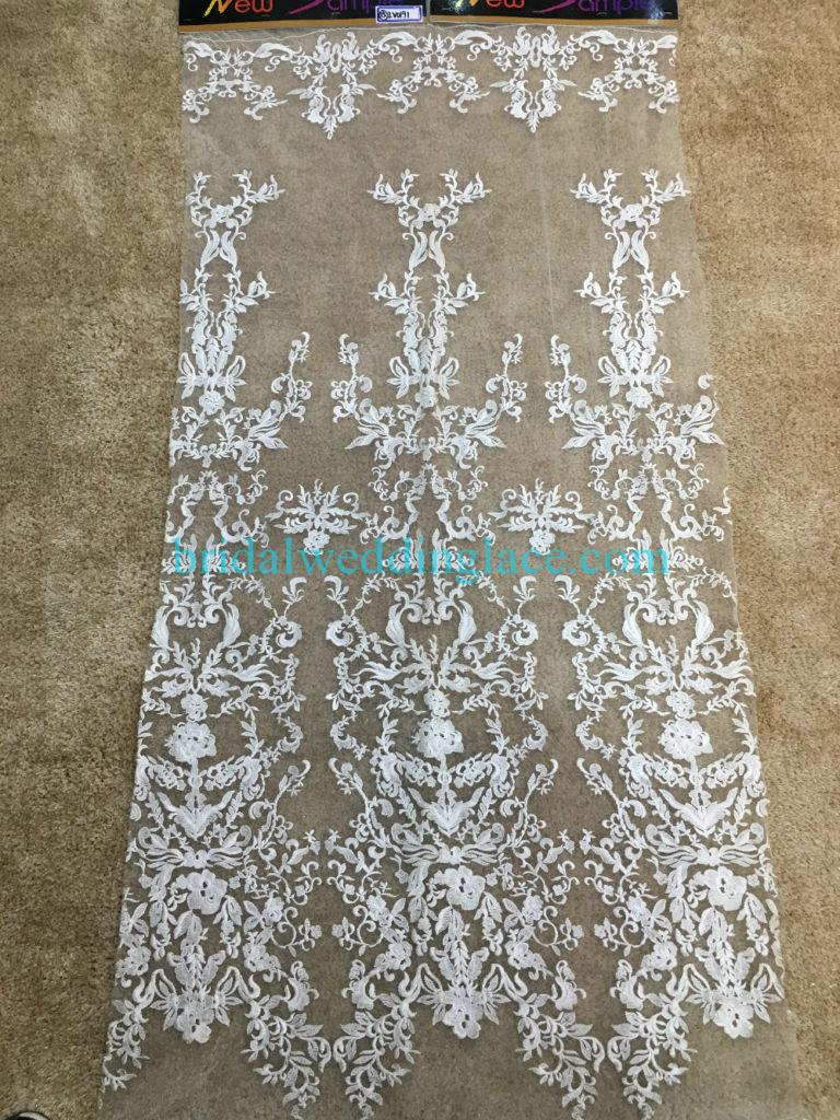 #941207 Quality Ivory Embroidery Bridal Lace Fabrics Bodice To Skirt One Piece Lace