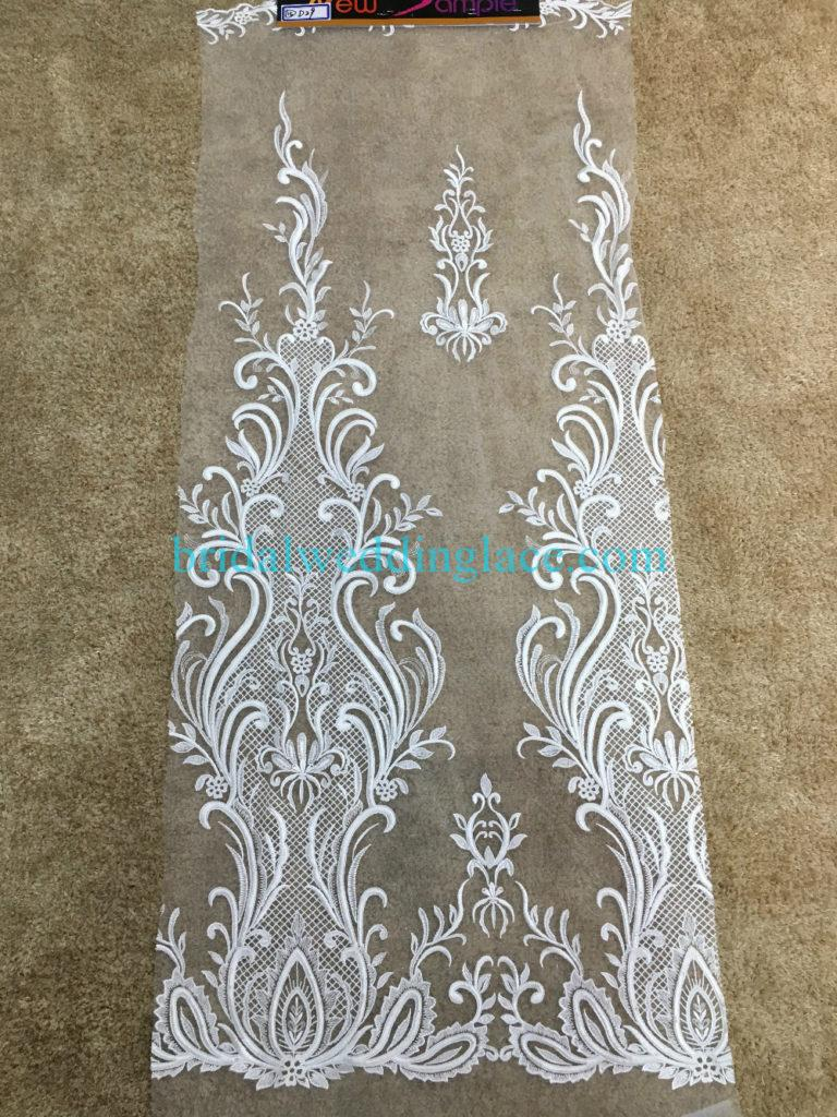 #941208 Quality Ivory Embroidery Bridal Lace Fabrics Bodice To Skirt One Piece Lace