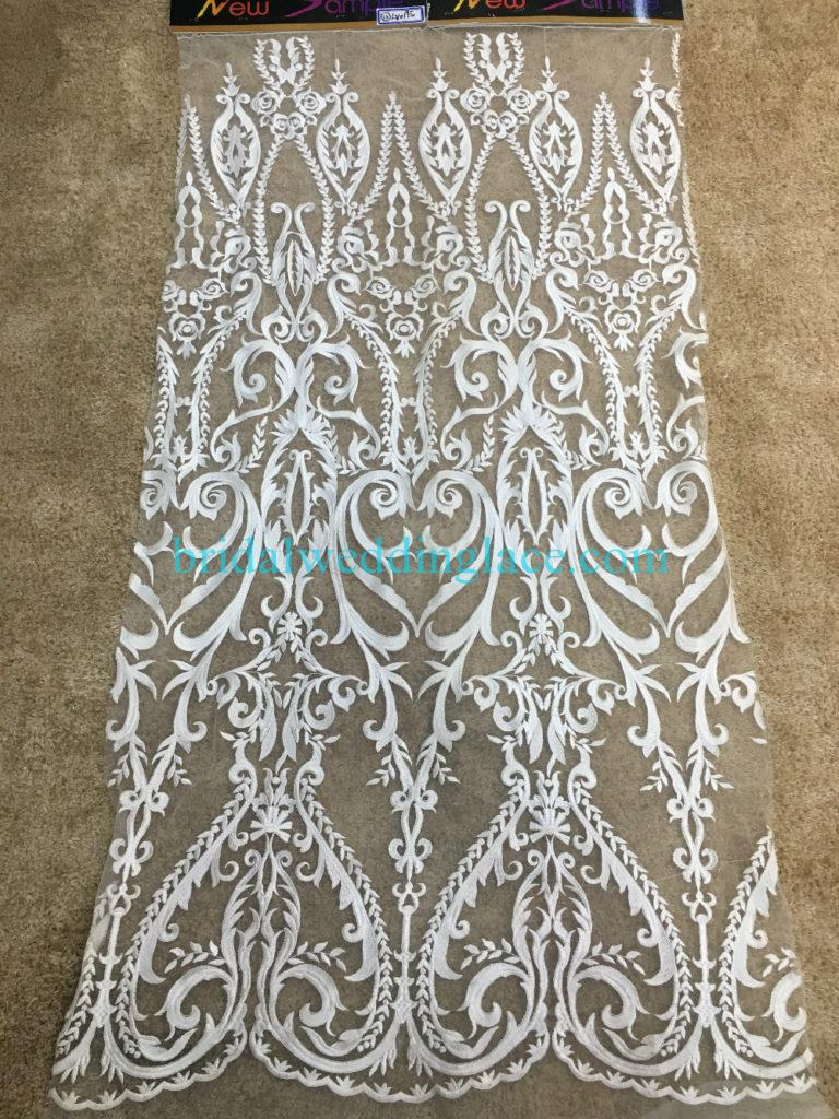 #941209 Quality Ivory Embroidery Bridal Lace Fabrics Bodice To Skirt One Piece Lace