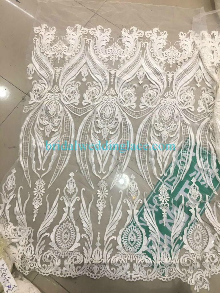#941211 Quality Ivory Embroidery Bridal Lace Fabrics Bodice To Skirt One Piece Lace