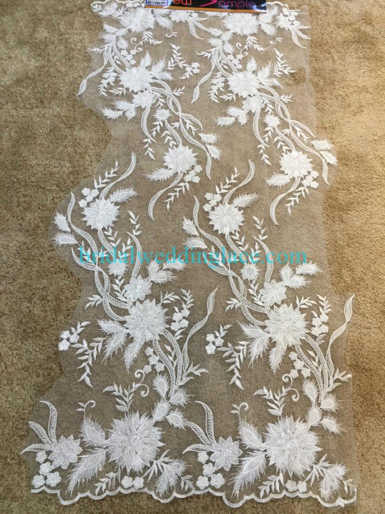 #BLF194231107 beaded bridal lace ivory wedding lace fabric DIY