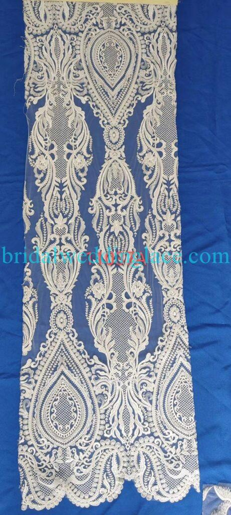 #BLF20081615 beading embellishment bridal lace fabrics light ivory off white beaded wedding lace fabrics DIY