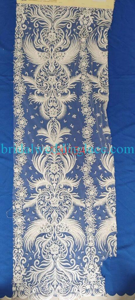 #BLF20081616 beading embellishment bridal lace fabrics light ivory off white beaded wedding lace fabrics DIY