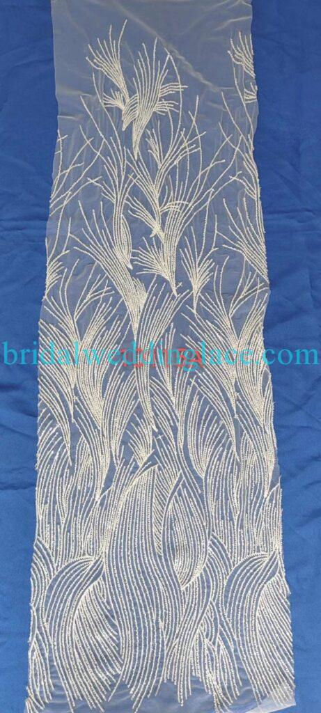 #BLF20081618 beading embellishment bridal lace fabrics light ivory off white beaded wedding lace fabrics DIY