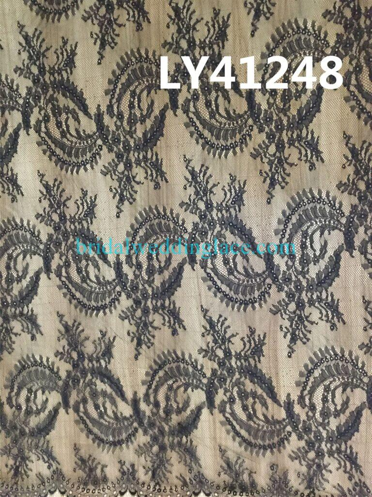 BCLF20081702 Quality Black Chantilly Lace Fabric Wedding Dress Formal Wear DIY Lace Fabric