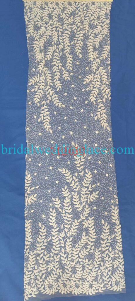 #BLF20081620 beading embellishment bridal lace fabrics light ivory off white beaded wedding lace fabrics DIY