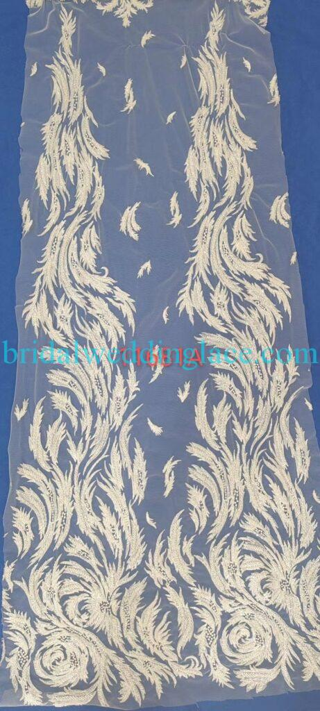 #BLF20081623 beading embellishment bridal lace fabrics light ivory off white beaded wedding lace fabrics DIY