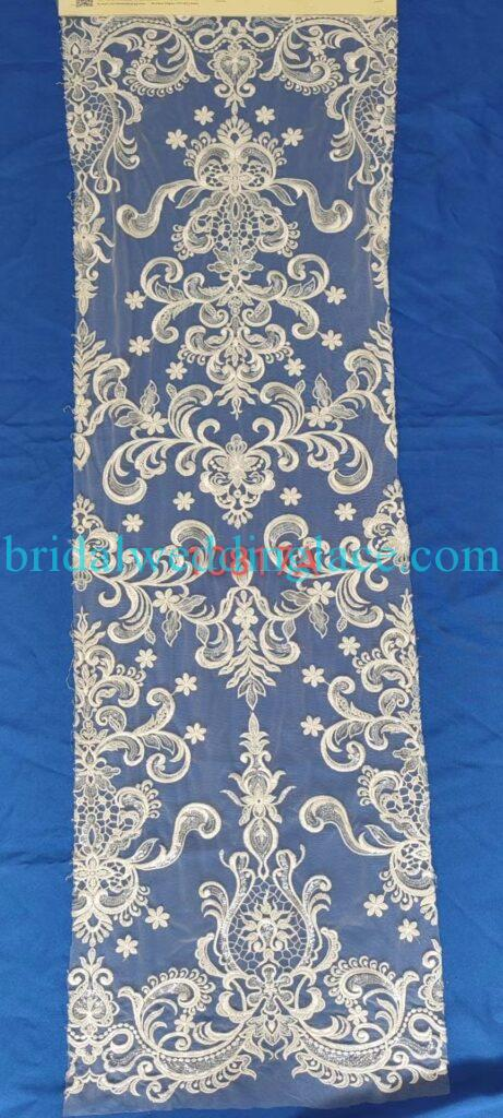 #BLF20081627 beading embellishment bridal lace fabrics light ivory off white beaded wedding lace fabrics DIY