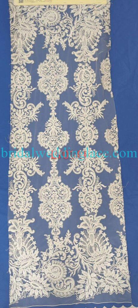 #BLF20081628 beading embellishment bridal lace fabrics light ivory off white beaded wedding lace fabrics DIY