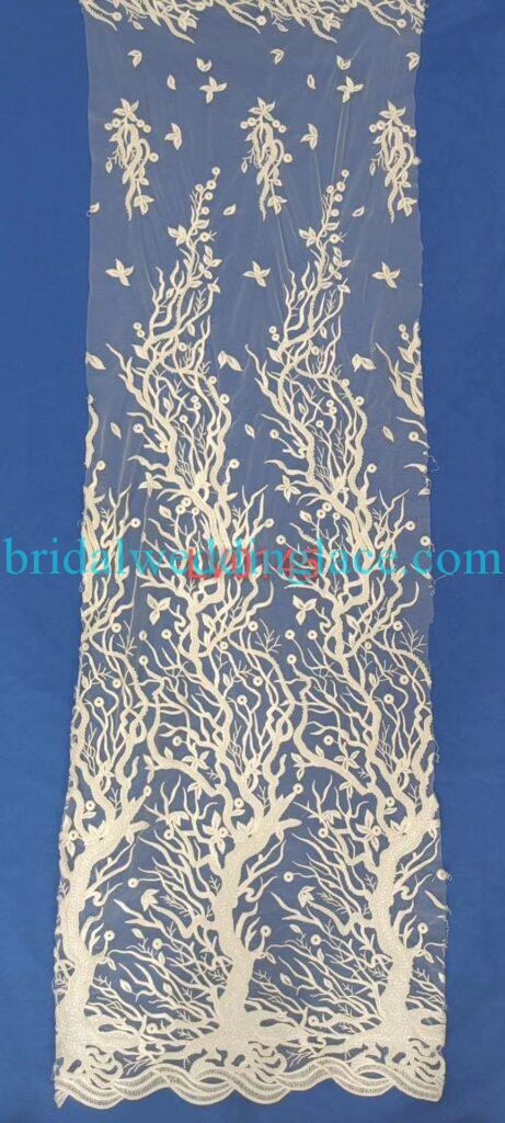 #BLF20081629 beading embellishment bridal lace fabrics light ivory off white beaded wedding lace fabrics DIY