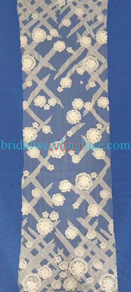 #BLF20081634 beading embellishment bridal lace fabrics light ivory off white beaded wedding lace fabrics DIY