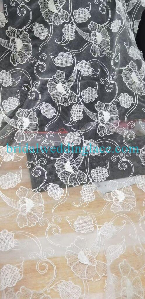 #20142701 Quality Plain Embroidery Bridal Lace Fabrics Bespoke Couture Bridal Lace