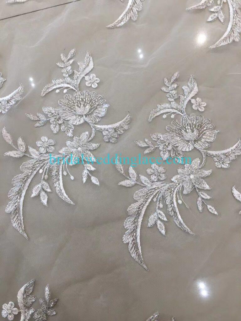 Quality ivory off white beaded lace applique lace fabric with beading 001