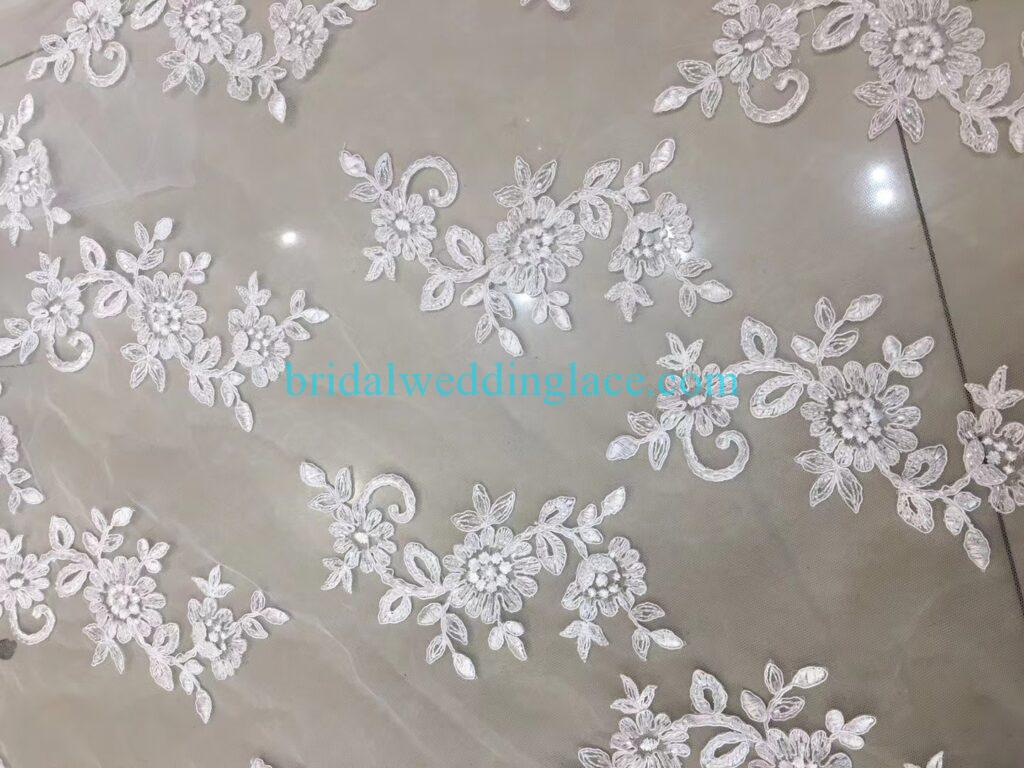 Quality ivory off white beaded lace applique lace fabric with beading 006