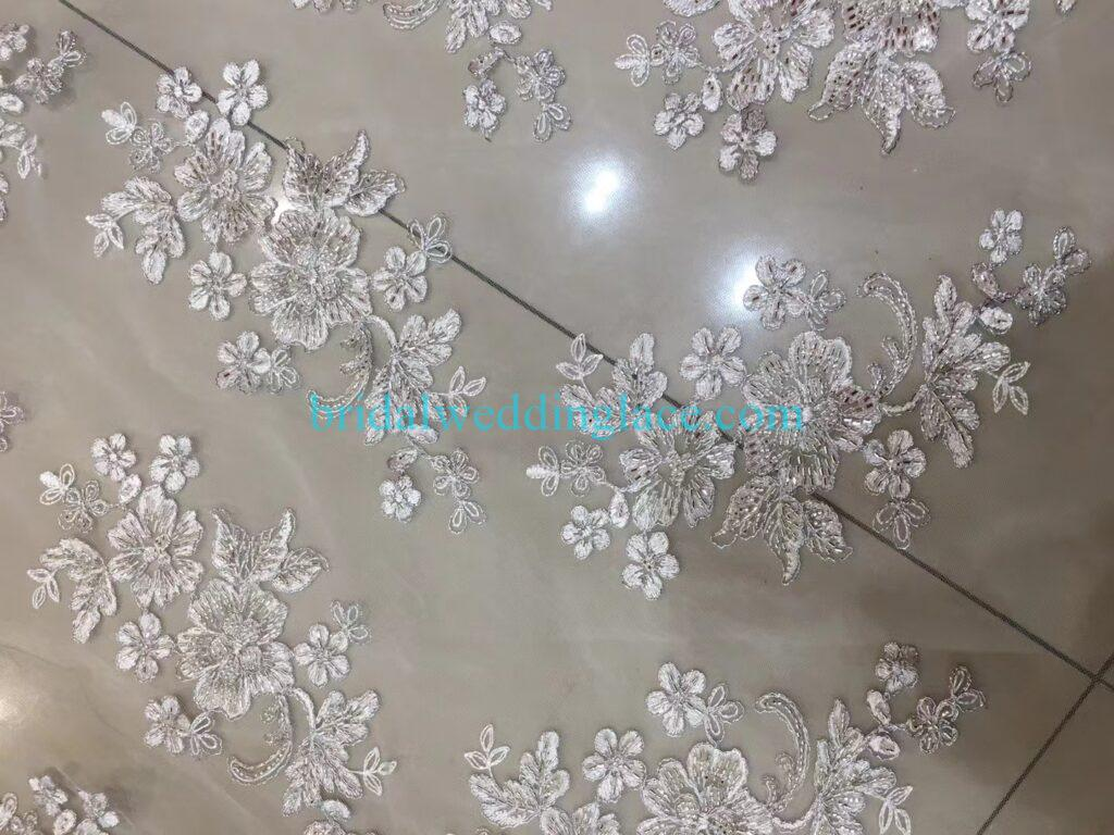 Quality ivory off white beaded lace applique lace fabric with beading 005